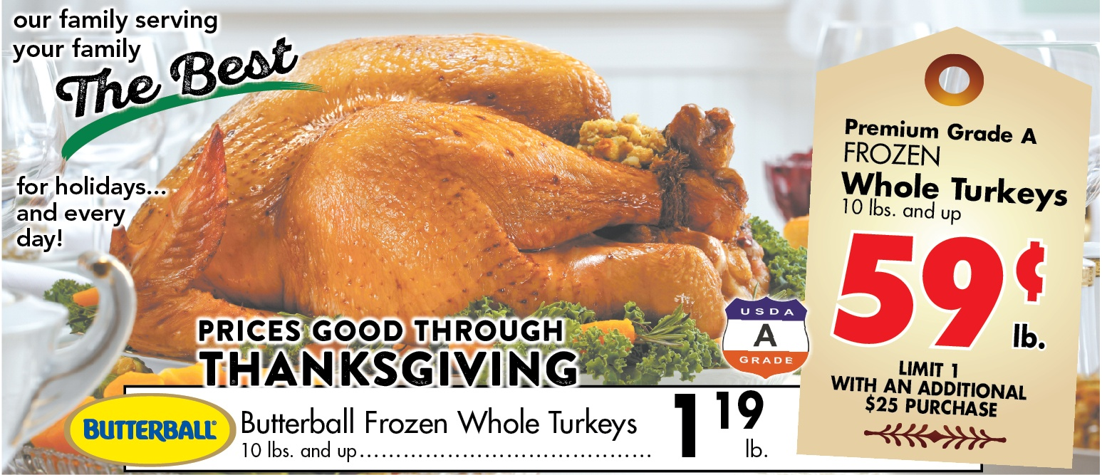turkey prices .59 and 119